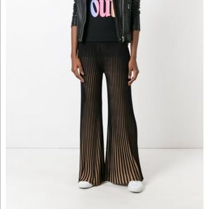 Kenzo Ribbed Flared Trousers nude asymetrical pink